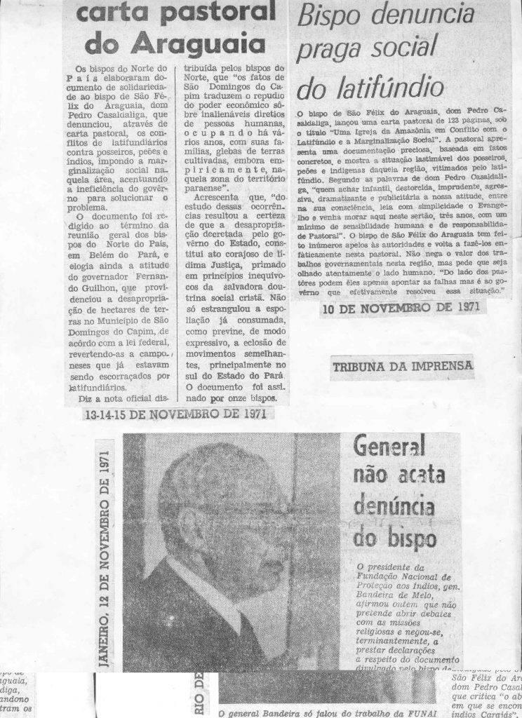 Repercussão da Carta-Documento de Casaldáliga na mídia nacional
