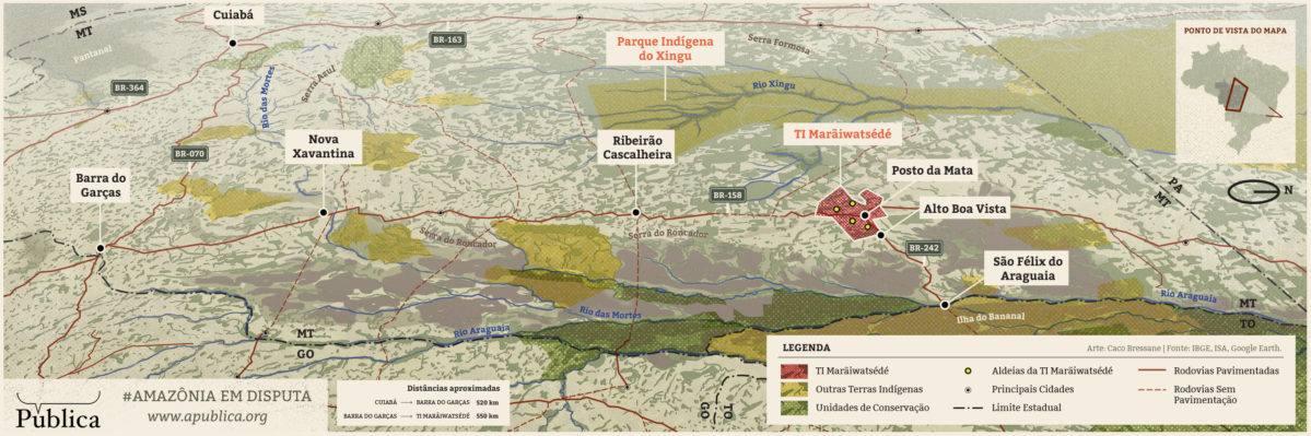 Agência Pública: mapa de l'àrea Xavante a l'Araguaia