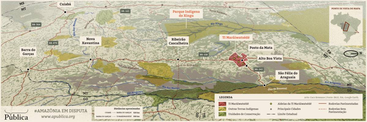 Agência Pública: Mapa da área Xavante no Araguaia