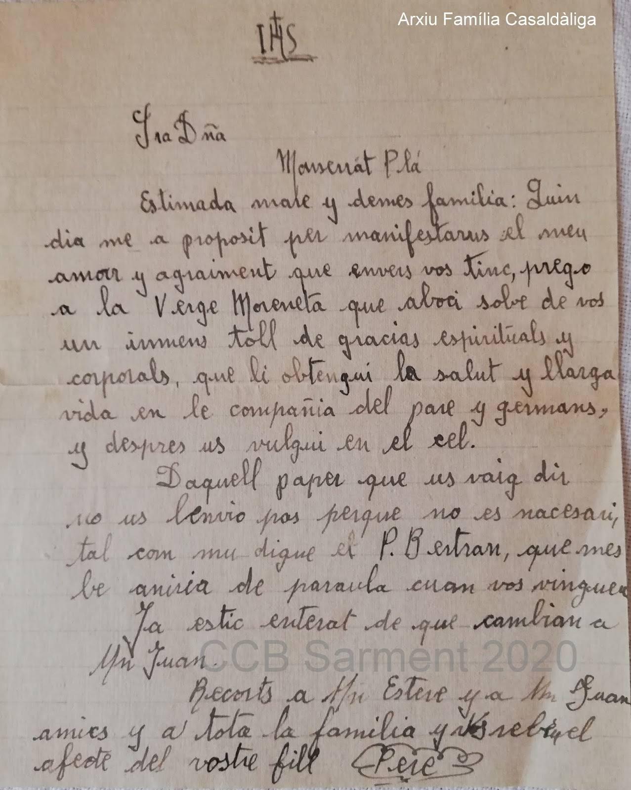 Carta que en Pere Casaldàliga envià a la seva família des del seminari
