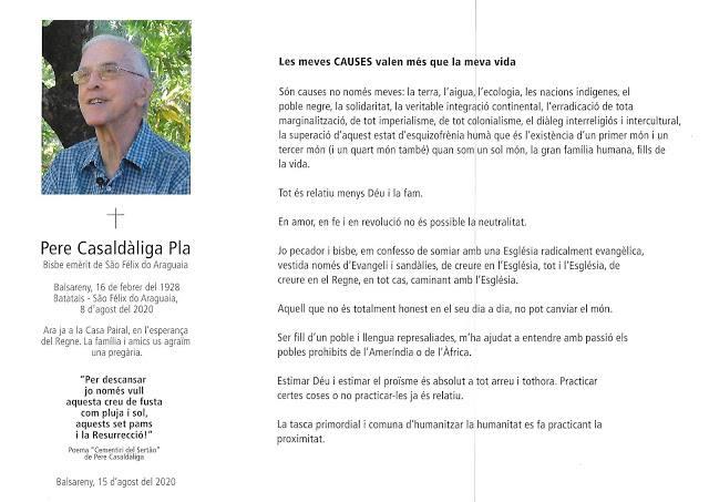 Recordatòria de la Missa-Funeral per Pere Casaldàliga a Balsareny