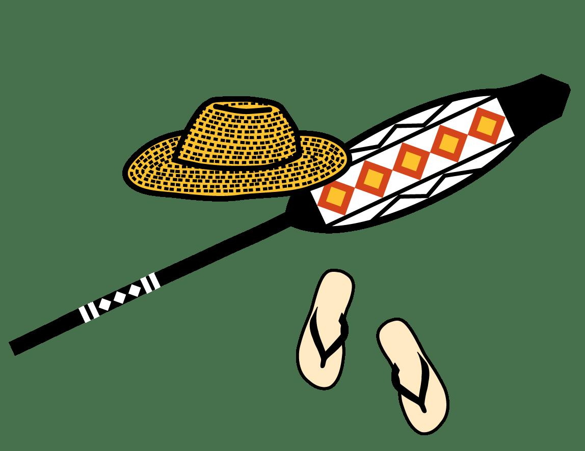 El barret de palla, el rem i les sandàlies són símbols de Pere Casaldàliga