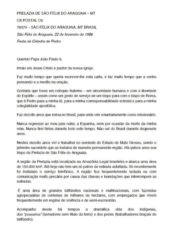 Casaldáliga. Carta ao Papa