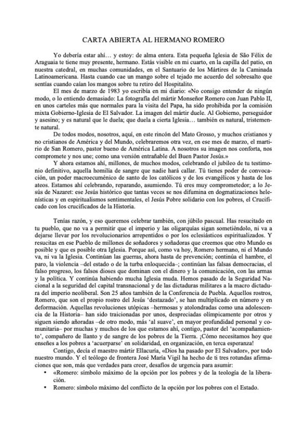 Carta Abierta al hermano Romero, Casaldàliga