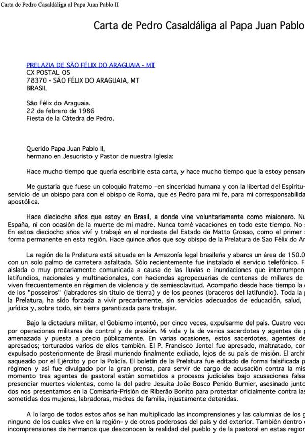 Carta de Casaldàliga al Papa Joan Pau II