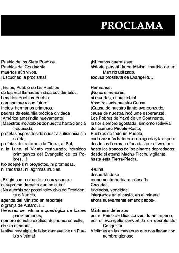 Proclama Indígena - Casaldàliga