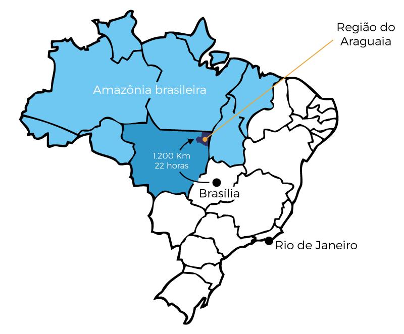 Mapa de la región de la Prelatura de São Félix do Araguaia